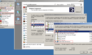 Howto add IIS FTP / HTTP service in Win2003