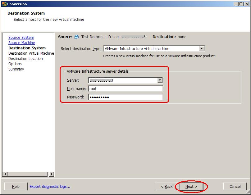 5- select destination server