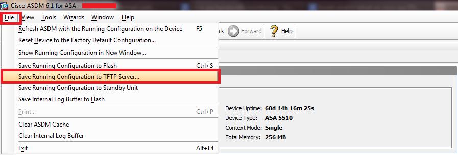 Cisco ASA 5510 Backup to TFTP Server using ASDM | Syed