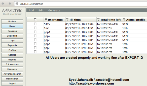 Mikrotik Script to Export PPP users to USER MANAGER | Syed