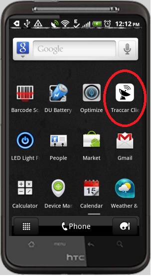TRACCAR client on android
