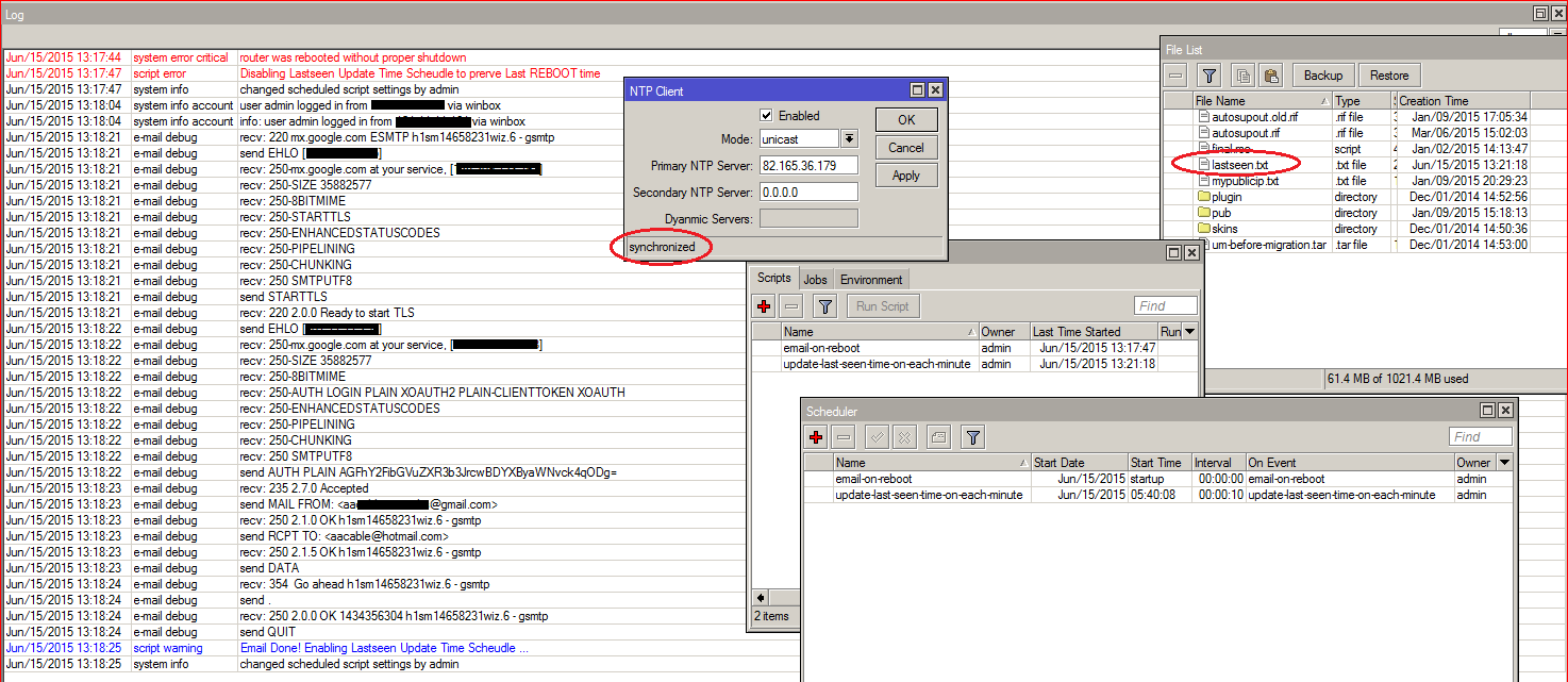 Sending Email on Router Reboot with Logs and LASTSEEN time
