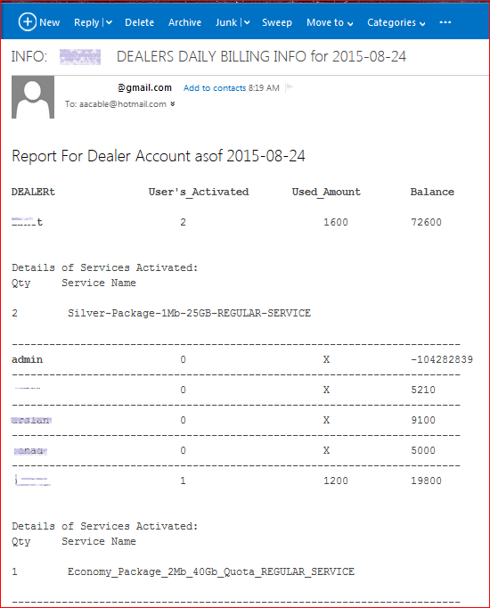 Re-seller Daily Sales Activity Report Via Email in Billing System ...