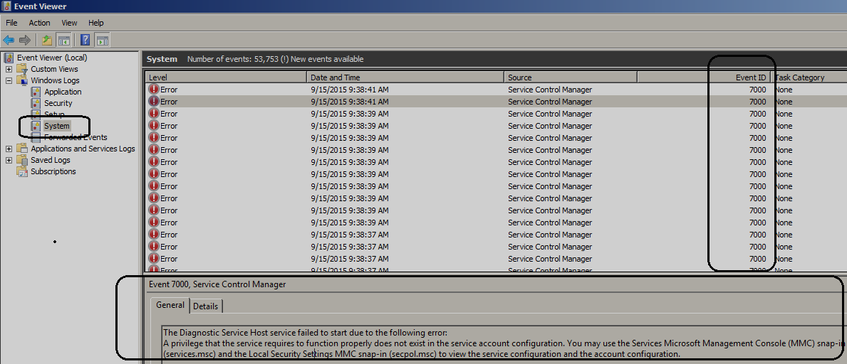 Event ID 7000 The Diagnostic Service Host service failed to