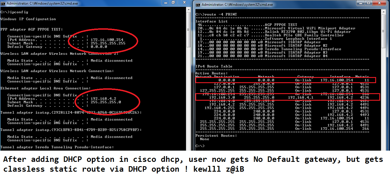 client ROUTEs and ipconfig AFTER DHCP OPTIOIN