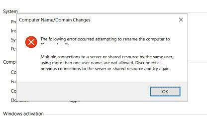 domain workstation rename error