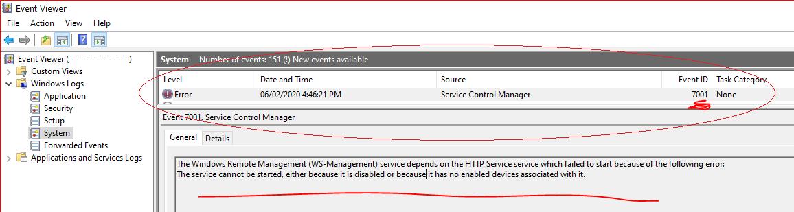 winhttp service errror
